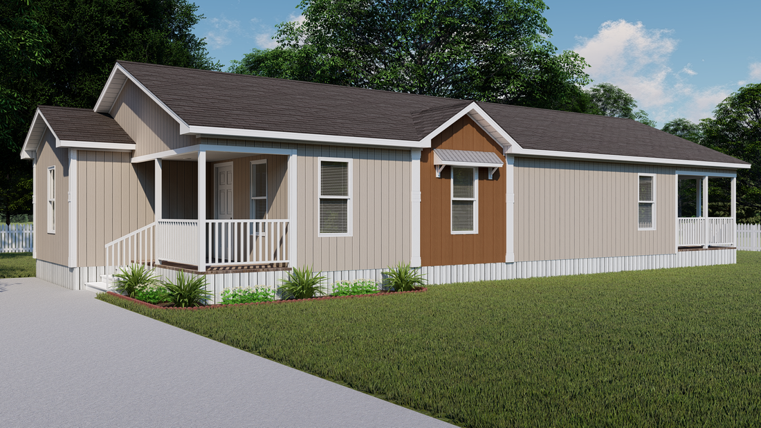 The THE CRENSHAW Exterior. This Manufactured Mobile Home features 3 bedrooms and 2 baths.