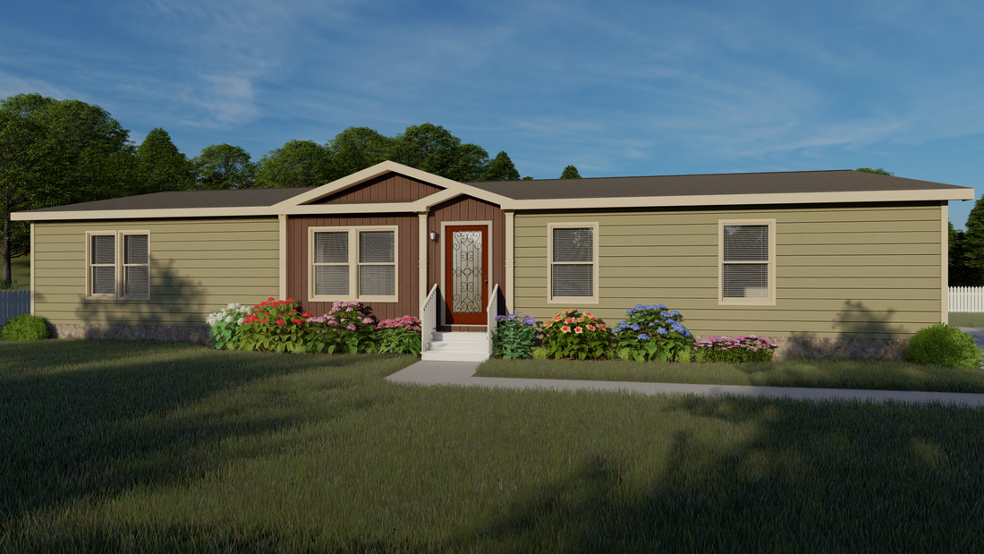 The THE GEORGETOWN Exterior. This Manufactured Mobile Home features 4 bedrooms and 2 baths.